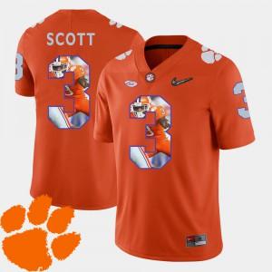 Artavis Scott Clemson Jersey Orange Football #3 Pictorial Fashion For Men's 578689-803