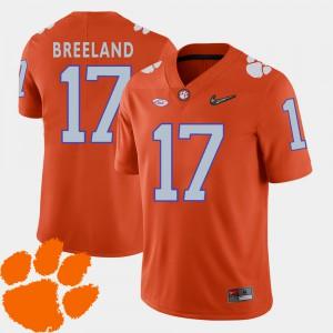 College Football #17 Orange Bashaud Breeland Clemson Jersey 2018 ACC Men's 842465-744