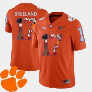 Football #17 Mens Orange Bashaud Breeland Clemson Jersey Pictorial Fashion 562423-165