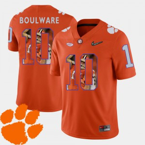 Ben Boulware Clemson Jersey Pictorial Fashion Orange Men's #10 Football 289184-639