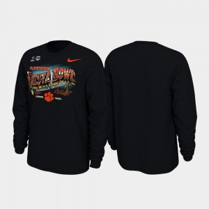 2019 Fiesta Bowl Bound Clemson T-Shirt Men's Black Illustrations Long Sleeve 720083-332