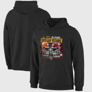 Men Bowl Game Black Clemson Hoodie vs. Alabama Crimson Tide 2018 Sugar Bowl Playoff Dueling First Down 315505-554