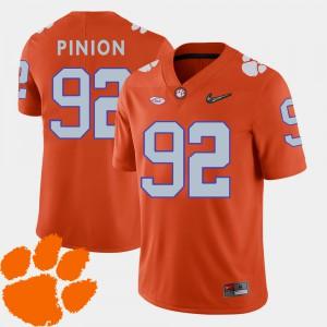 College Football Bradley Pinion Clemson Jersey Orange 2018 ACC For Men's #92 871949-786