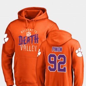 For Men's Orange Bradley Pinion Clemson Hoodie #92 Hometown Collection Logo 212847-900
