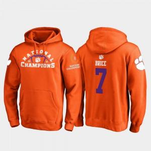 #7 College Football Playoff Pylon 2018 National Champions For Men's Chase Brice Clemson Hoodie Orange 630580-654