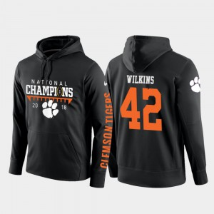 Christian Wilkins Clemson Hoodie Mens College Football Pullover Black #42 2018 National Champions 955185-399