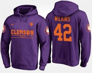 Purple #42 For Men Christian Wilkins Clemson Hoodie 278398-735