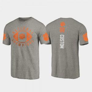 Men #00 2018 National Champions Gray Clemson Custom T-Shirt College Football Playoff 663134-159