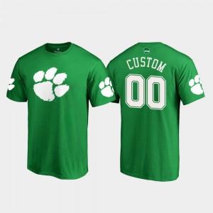 White Logo Clemson Customized T-Shirt St. Patrick's Day #00 Kelly Green Men 238180-611
