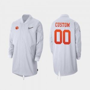 For Men Full-Zip Sideline White #00 Clemson Customized Jackets 2019 College Football Playoff Bound 557336-365