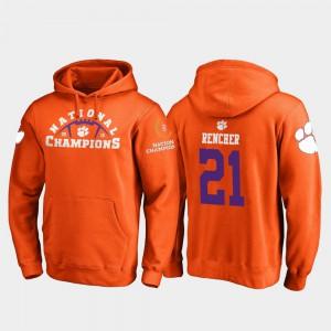 Orange 2018 National Champions For Men #21 Darien Rencher Clemson Hoodie College Football Playoff Pylon 835094-561