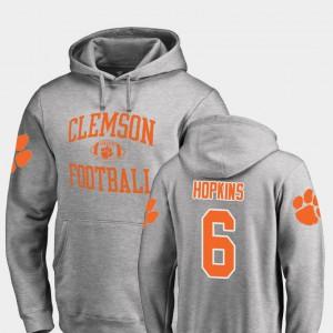 College Football #6 DeAndre Hopkins Clemson Hoodie Neutral Zone Ash Men's 120336-400