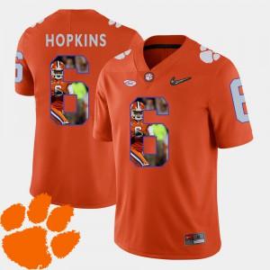 DeAndre Hopkins Clemson Jersey Orange For Men's Football #6 Pictorial Fashion 543116-971