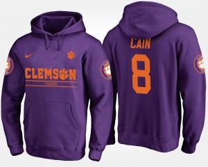 Mens #8 Deon Cain Clemson Hoodie Purple 351462-678