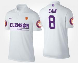 Men's #8 Deon Cain Clemson Polo White 740881-826