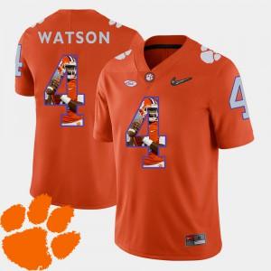 Men's #4 Pictorial Fashion DeShaun Watson Clemson Jersey Football Orange 489529-384