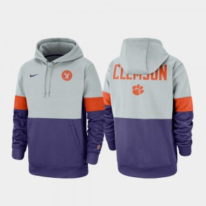 Therma Performance Pullover Men Clemson Hoodie Gray Purple Rivalry 852854-539
