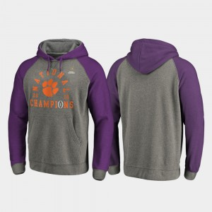 Clemson Hoodie 2018 National Champions For Men College Football Playoff Lateral Heather Gray 428515-474