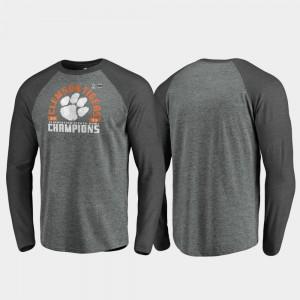 2019 Fiesta Bowl Champions Heather Gray Offensive Long Sleeve Raglan Mens Clemson T-Shirt 782247-339
