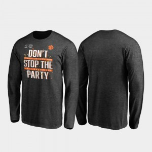 For Men's 2019 Fiesta Bowl Champions Receiver Long Sleeve College Football Playoff Heather Gray Clemson T-Shirt 445541-296