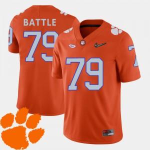 #79 College Football Orange 2018 ACC Isaiah Battle Clemson Jersey Men's 513927-503