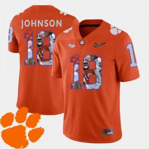 #18 Football Jadar Johnson Clemson Jersey Men's Pictorial Fashion Orange 226252-847