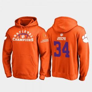 Orange Kendall Joseph Clemson Hoodie 2018 National Champions College Football Playoff Pylon #34 Mens 171998-600