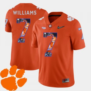 Football Mike Williams Clemson Jersey Orange #7 Pictorial Fashion For Men 400838-324