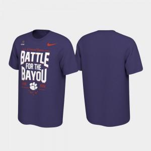 2019 College Football Playoff Bound Clemson T-Shirt Men's Purple Battle For The Bayou 351875-336