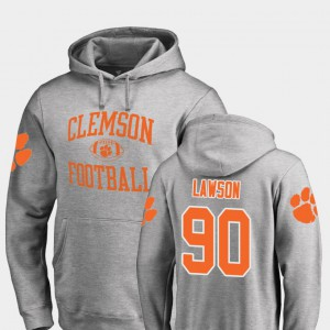 #90 For Men's Neutral Zone Shaq Lawson Clemson Hoodie Ash College Football 834681-957