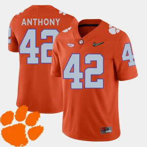 2018 ACC College Football Orange For Men's #42 Stephone Anthony Clemson Jersey 513599-644