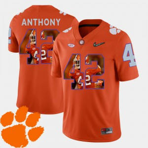 For Men Stephone Anthony Clemson Jersey Football #42 Pictorial Fashion Orange 659146-302