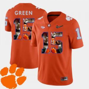 T.J. Green Clemson Jersey Football #15 For Men Orange Pictorial Fashion 415152-976
