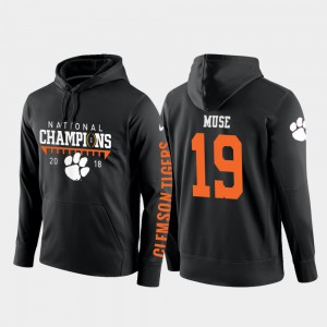 Black College Football Pullover Men's Tanner Muse Clemson Hoodie #19 2018 National Champions 748427-962