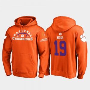Orange Tanner Muse Clemson Hoodie #19 2018 National Champions College Football Playoff Pylon Mens 663043-368