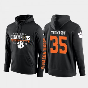 #35 2018 National Champions For Men's Ty Thomason Clemson Hoodie Black College Football Pullover 387380-922
