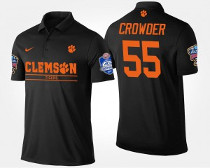 Men's Atlantic Coast Conference Sugar Bowl Bowl Game Tyrone Crowder Clemson Polo #55 Black 715276-465