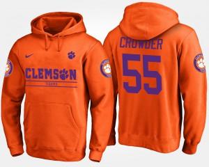 Men #55 Tyrone Crowder Clemson Hoodie Orange 530796-350