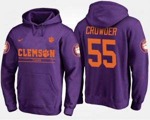 Tyrone Crowder Clemson Hoodie Mens Purple #55 564719-322