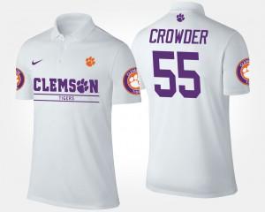 #55 Men Tyrone Crowder Clemson Polo White 224603-836