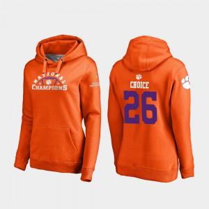 #26 Adam Choice Clemson Hoodie Womens 2018 National Champions Orange College Football Playoff Pylon 520318-143