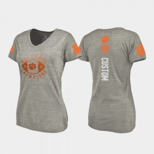 2018 National Champions College Football Playoff V-Neck Clemson Customized T-Shirts For Women's #00 Gray 685374-669