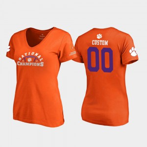 Clemson Custom T-Shirt For Women Pylon V-Neck 2018 National Champions #00 Orange 955266-359