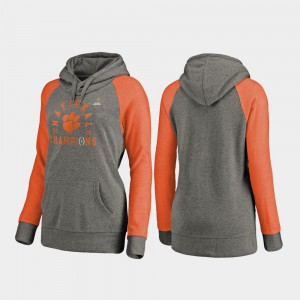 Heather Gray 2018 National Champions Clemson Hoodie College Football Playoff Lateral Raglan Women's 714305-552