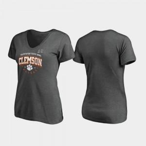 2019 Fiesta Bowl Bound Heather Gray Clemson T-Shirt Tackle V-Neck Ladies 916981-429