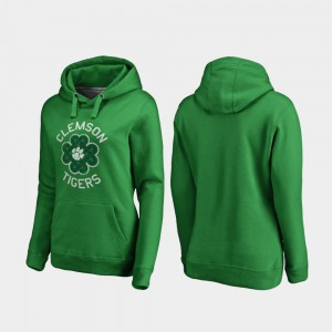 St. Patrick's Day For Women Clemson Hoodie Kelly Green Luck Tradition 198588-294