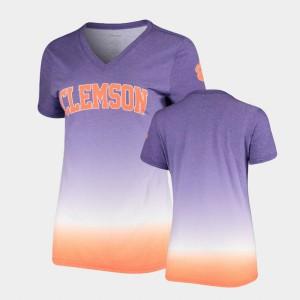 Women's V-Neck Ombre Purple Clemson T-Shirt 787697-617
