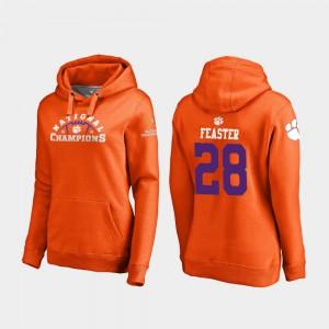 #28 Tavien Feaster Clemson Hoodie Womens Orange College Football Playoff Pylon 2018 National Champions 830078-516