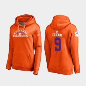 Women's Orange 2018 National Champions College Football Playoff Pylon Travis Etienne Clemson Hoodie #9 298536-515
